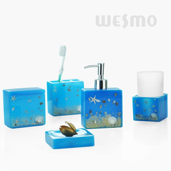 Resin bathroom accessories set wbp0807a wesmo for Sea bathroom accessories