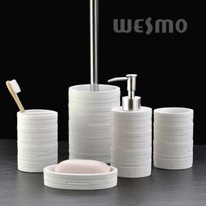 Beautiful Interlaced By The Embossed Stripes On The Body, This Polyresin Bathroom Set  Stands Out In The Market. Enhancing Your Bathroom With This Modern Design.