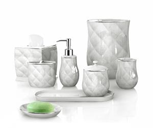 an elegant and timeless design in roman style with tri dimensional diamond patterns this porcelain bathroom set exudesclass and style and can match