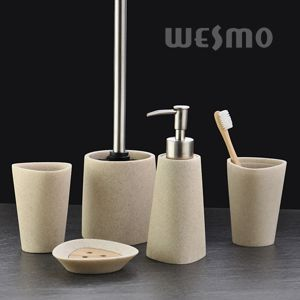 Great Interlaced By The Embossed Stripes On The Body, This Polyresin Bathroom Set  Stands Out In The Market. Enhancing Your Bathroom With This Modern Design. Ideas