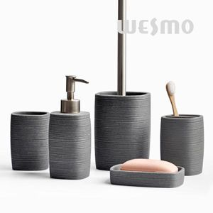 With The Embossed Stripes On The Body, This Polyresin Bathroom Set Stands  Out In The Market. Enhancing Your Bathroom With This Modern Design.